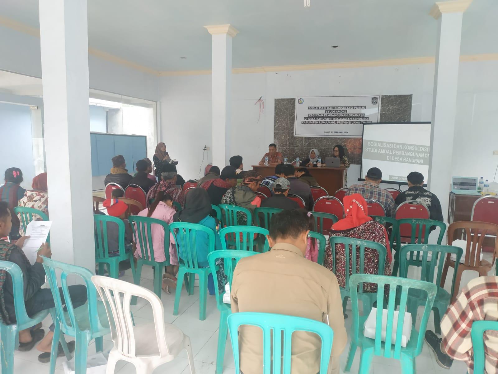 Sosialisasi dan Konsultasi Publik Studi Amdal Kegiatan Pembangunan Drainase di Desa Ranupani
